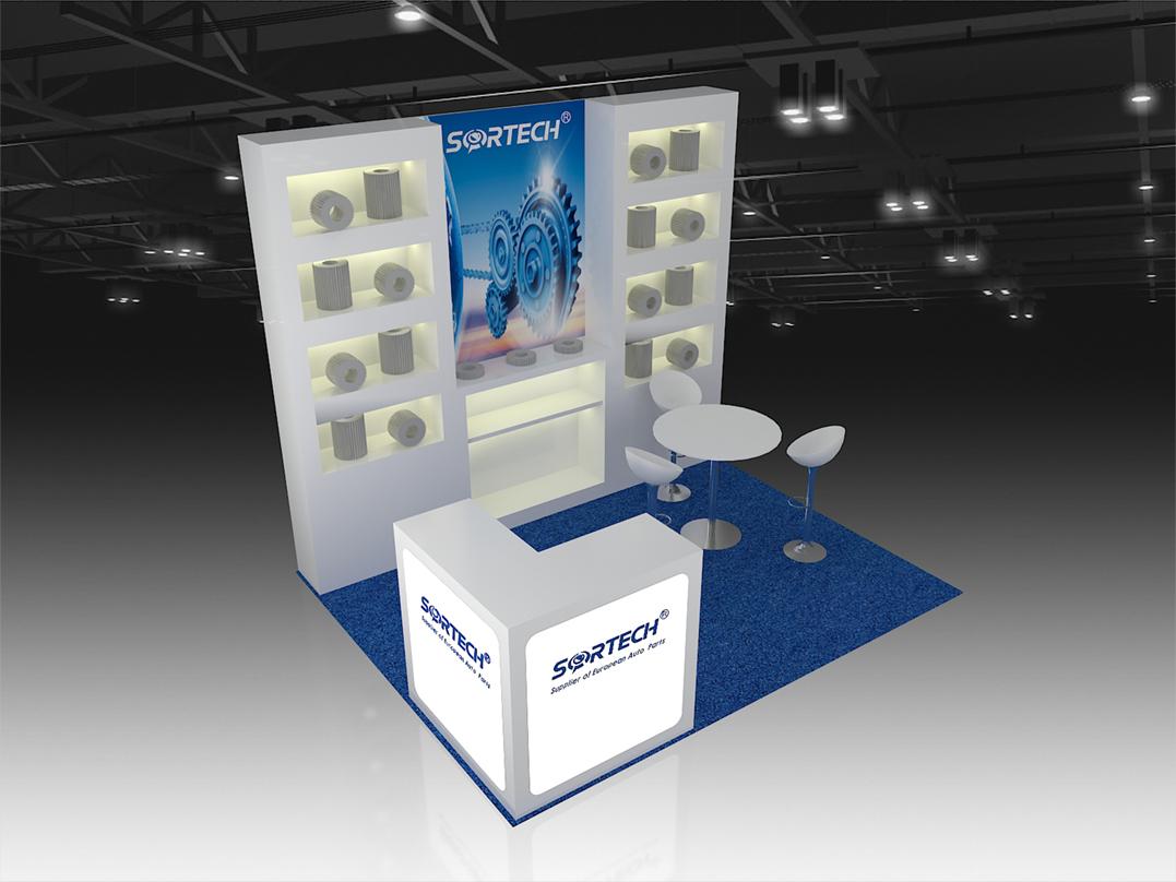 10x10 booth 3d rendering design
