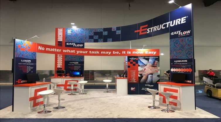 A 20x20 Trade show booth with flooring.